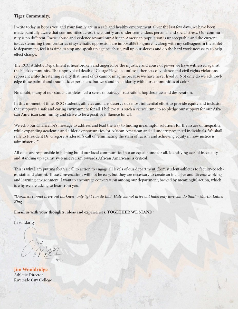 """RCC Athletics Pledge of Solidarity Against Racism --- """"In this moment of time, RCC students, athletes and fans deserve our most influential effort to provide equity and inclusion that supports a safe and caring environment for all."""" https://t.co/P13MAyfikl"""