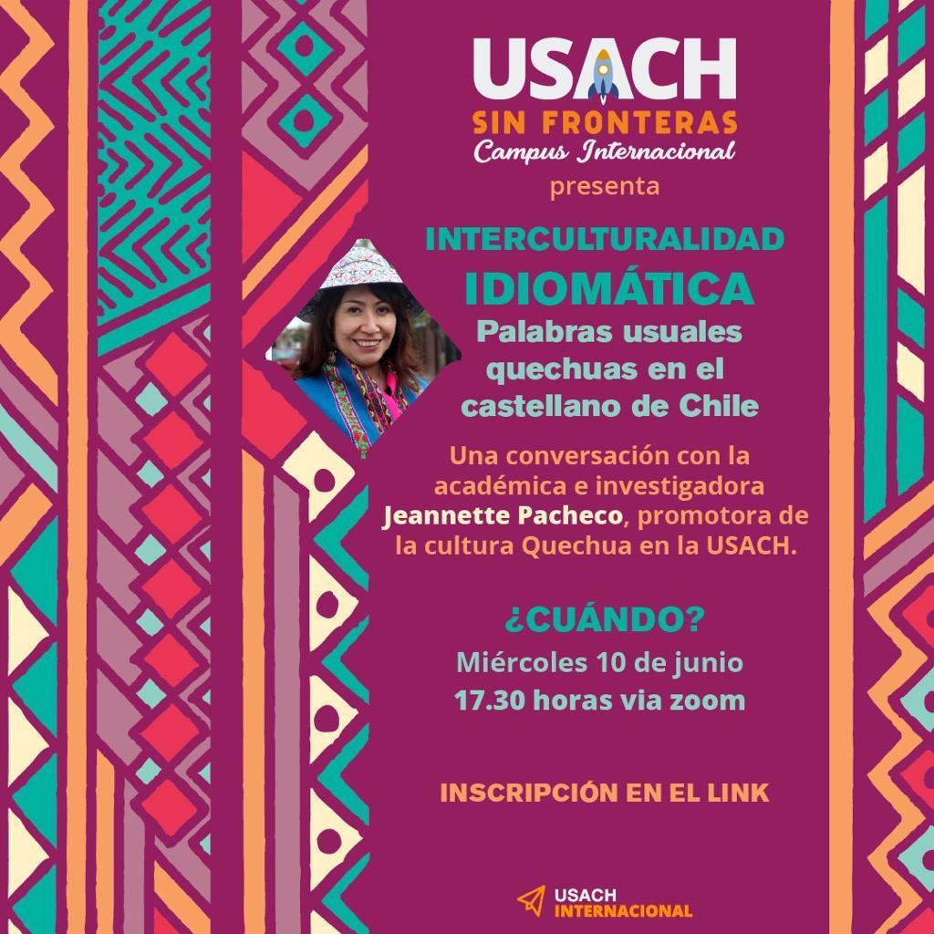 Profesora de PEGB, Jeannette Pacheco, dictará clase en Usach sin Fronteras sobre palabras quechuas en el castellano. La actividad se llevará a cabo el miércoles 10/06 a las 17:30 hrs. Más información e inscripciones en el siguiente link. https://t.co/O1fMGPCWXO https://t.co/amQO2V1Vb4
