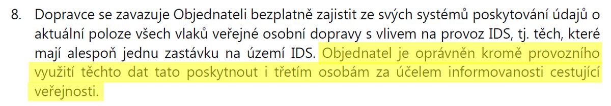 Časy se mění. Ještě nedávno DP Praha považoval zveřejnění poloh vozů za bezpečnostní riziko. Před 2 týdny jsme se dohodli na zpřístupnění poloh busů jako #opendata. Klauzule o poskytování dat třetím stranám máme za PID též ve smlouvách s ČD a od minulého týdne i Správou železnic. https://t.co/etsb9KMbow