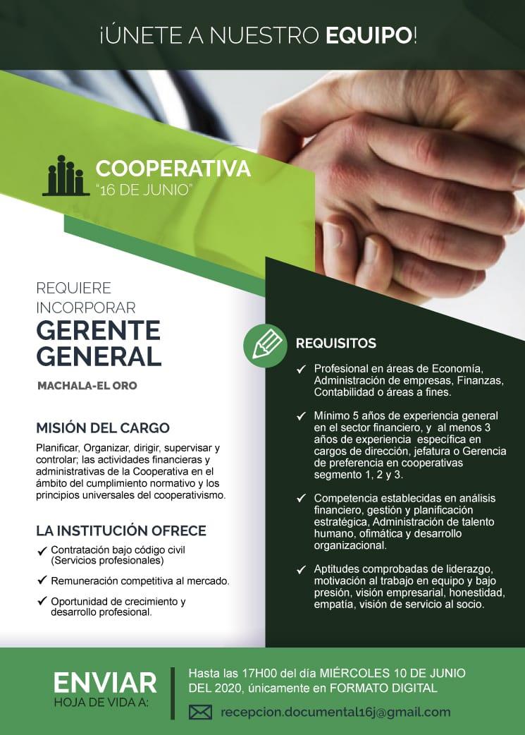 """Cooperativa de Ahorro y Crédito """"16 de Junio"""" de Machala, invita a participar en el proceso, para selección de su Gerente General. Interesados tomar en cuenta los siguientes requisitos: https://t.co/1sDO9FKOif"""