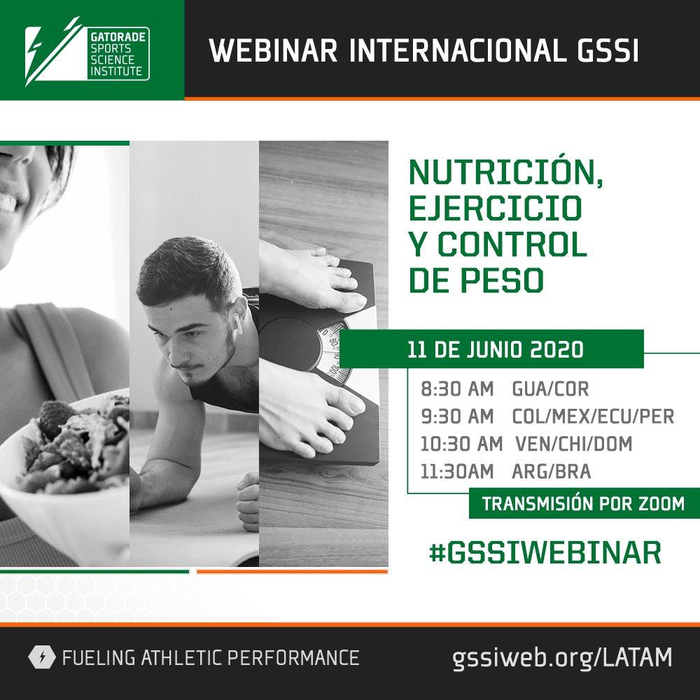 """Inscribite gratis al webinar de #GSSI """"Nutrición, ejercicio y control de peso"""".   #APRENDEENCASA de los expertos. #CIENCIADEPORTIVA regístrate gratis acá: https://t.co/xIKiM7WOh0 https://t.co/ADGmf1tqjw"""