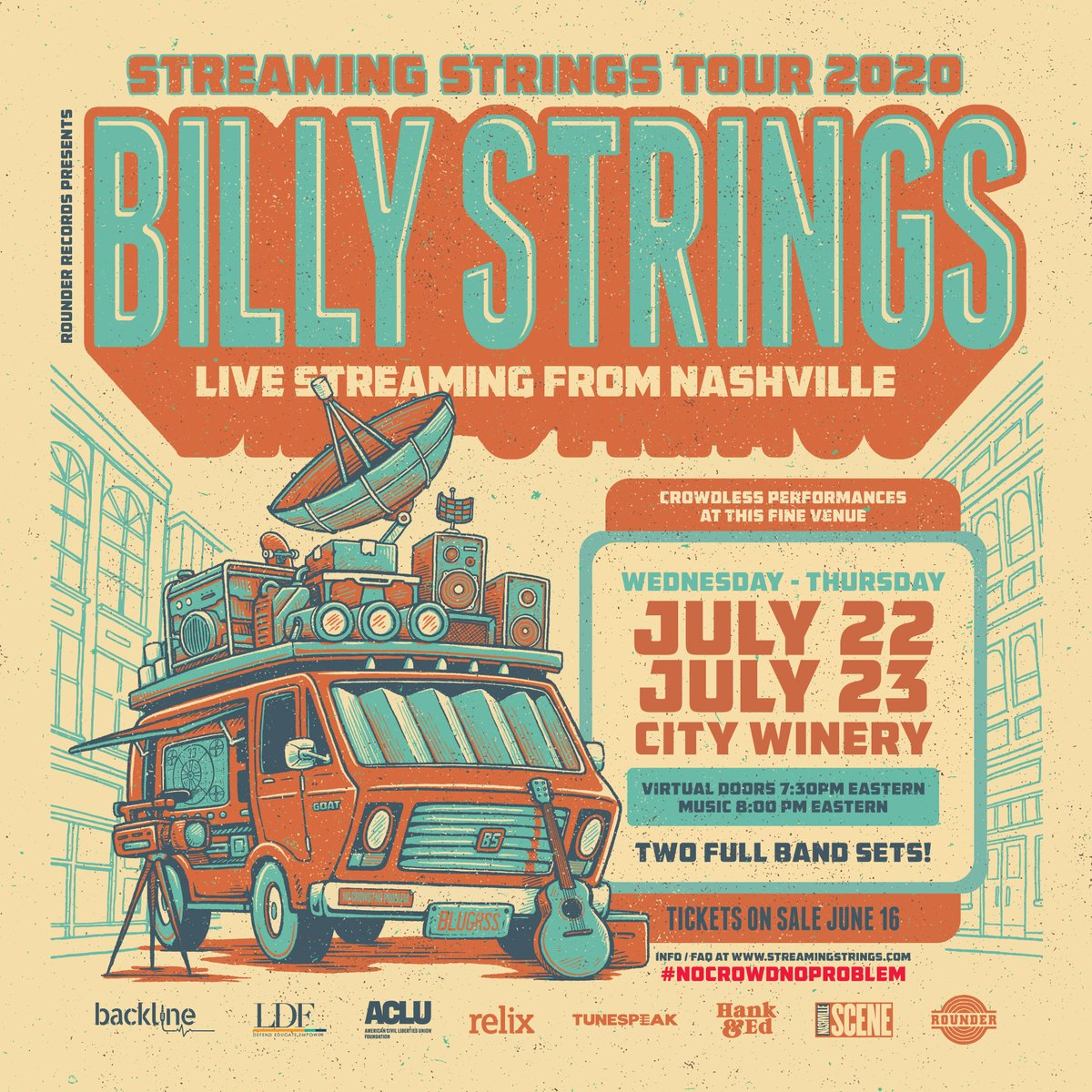 ANNOUNCE: @bstrings1 is coming to City Winery Nashville on 7/22 & 7/23 for his #StreamingStringsTour presented by @RounderRecords.  This CROWDLESS performance features two full band sets w/ full production and five cameras streaming from @nugsnet.  Info: https://t.co/4IAYYfnb4C https://t.co/4pNpBJYfHN
