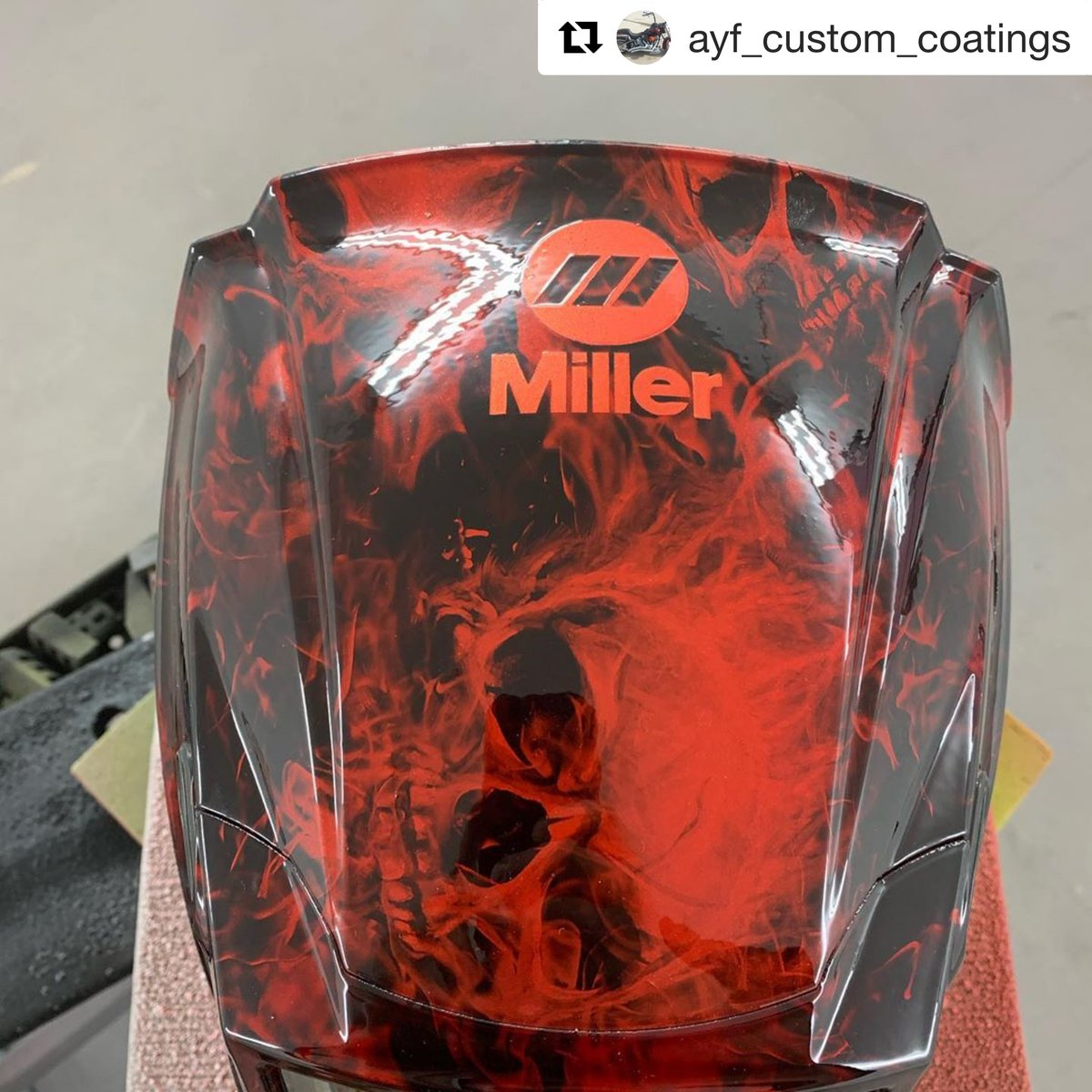 Have you personalized your Miller® welding helmet? Show us how you make it your own. Thanks for sharing your before and after pictures Instagram user @ayf_custom_coatings – such an awesome transformation! #MillerWelders #weldblue https://t.co/HAk7WNwbrQ