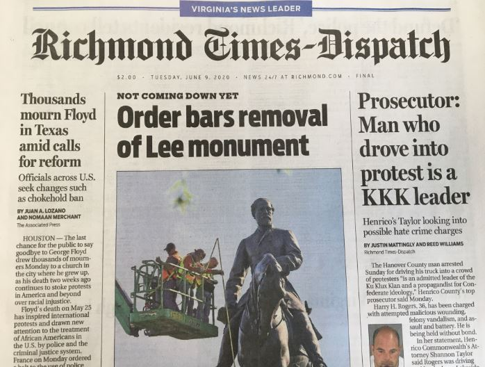 A picture is worth a thousand words.This monument is deeply connected to the other two articles on the @RTDNEWS front page.   Make no mistake: it will come down. https://t.co/bPw1StZRLl