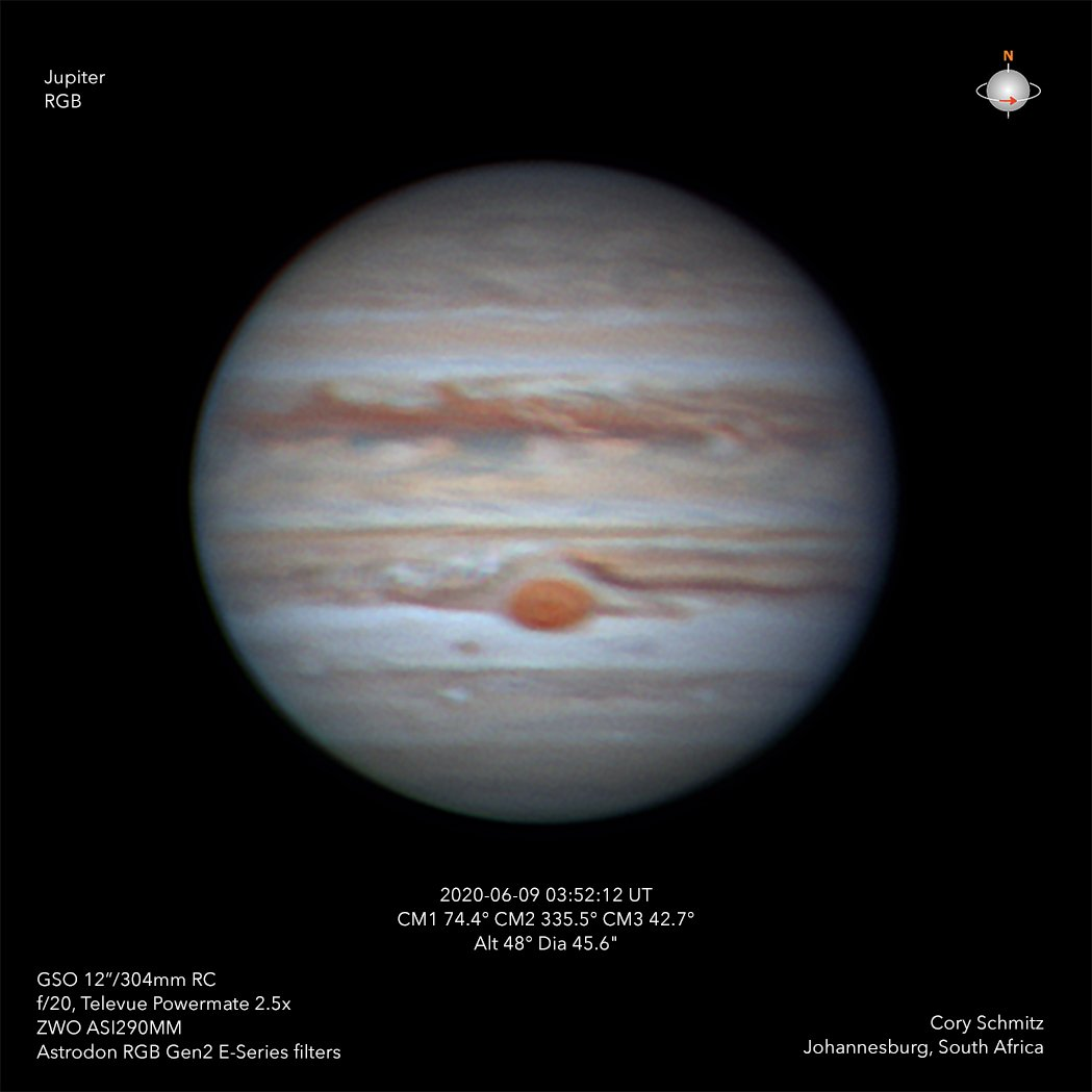 #Jupiter and the Great Red Spot this morning.  The skies were so stable but the details just weren't there. The jet stream is a major screamer right now at my location, so I shouldn't be surprised.  I haven't had a chance to look at the IR data yet.  #astrophotography #astronomy https://t.co/6WGGKCd20V