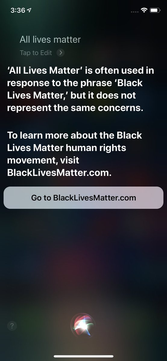 "Saying ""All lives matter"" to Siri now redirects to https://t.co/iFGlE8SdHs https://t.co/tMy1r5nXtz"