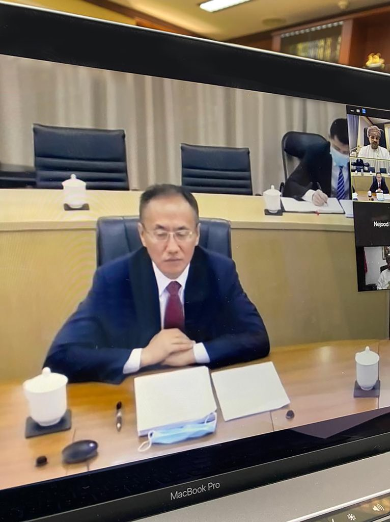 Via video conference, holding a new round of #Oman - #China Strategic Consultations today, on a number of important bilateral, regional and international issues with Mr. Chen Xiaodong, Assistant Minister of Foreign Affairs. https://t.co/9cg1wj9RqI https://t.co/xHYeksQ3C2