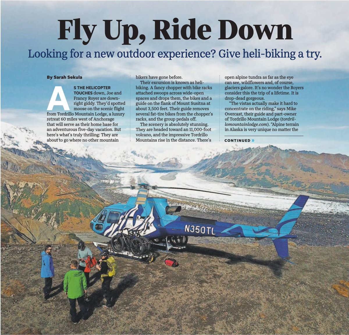 Tordrillo Mtn Lodge On Twitter We Are Honored To Have A 2 Page Spread In The Newest Issue Of The Usatoday Written By Our Friend Wordzilla Heli Biking Is Just One Of