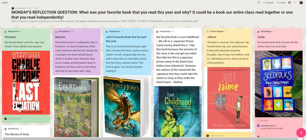 I am loving these End of the Year Reflections using <a target='_blank' href='http://twitter.com/padlet'>@padlet</a> so that kids can share their favorite things about 4th grade! I just added a ton of books to my summer reading list after this! <a target='_blank' href='http://twitter.com/CampbellAPS'>@CampbellAPS</a> <a target='_blank' href='http://twitter.com/MsPerrysclass1'>@MsPerrysclass1</a> <a target='_blank' href='http://twitter.com/MsOlsons_Class'>@MsOlsons_Class</a> <a target='_blank' href='http://twitter.com/Ms_Alsups_Class'>@Ms_Alsups_Class</a> <a target='_blank' href='https://t.co/moi75VMCxk'>https://t.co/moi75VMCxk</a>
