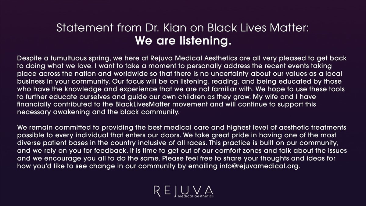 A Note From Dr. Kian on #BlackLivesMatter: We Are Listening. https://t.co/muHC4dwzUZ