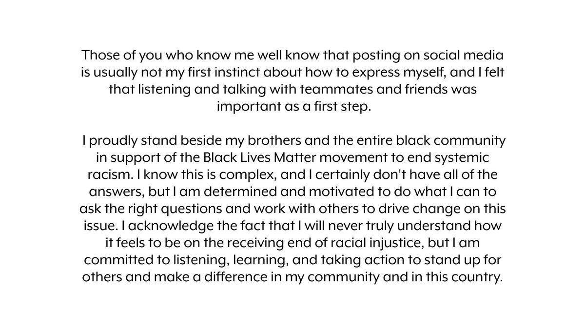 I proudly stand beside my brothers and the entire black community in support of the #BlackLivesMatter movement to end systemic racism. https://t.co/JUlWMTVfGa