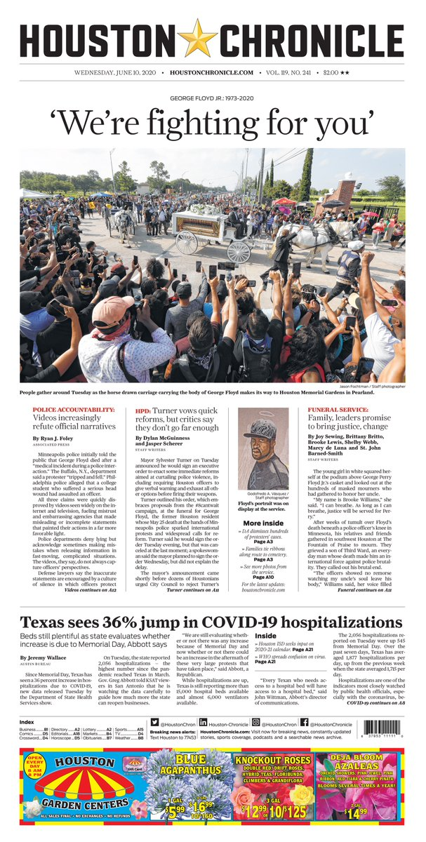 Wednesday's @HoustonChron front page. @clarooz19 design. @JFoch and @godovasquez photos. https://t.co/drRVZ2joiW