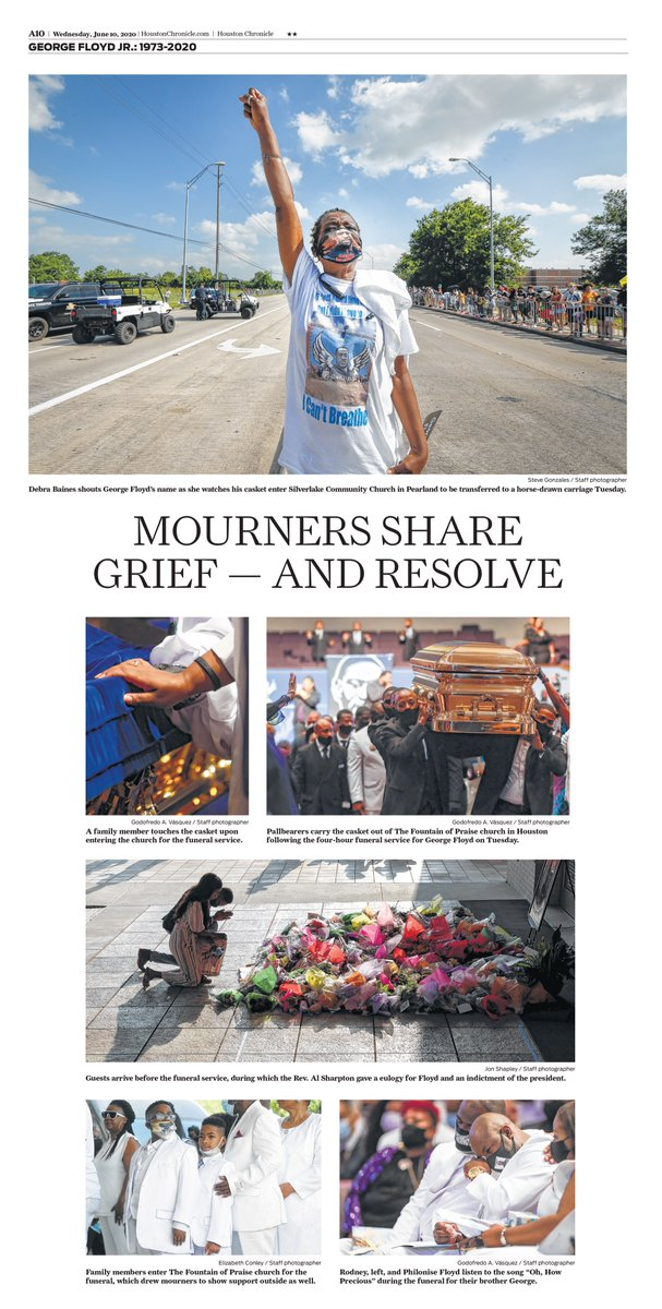 Mourners share grief — and resolve at George Floyd funeral service. Photo page inside Wednesday's @HoustonChron. Design by @clarooz19. Photos by @stevegonzaleshc, @godovasquez, @jonjshapley, @egconley https://t.co/PTeu02qbzG