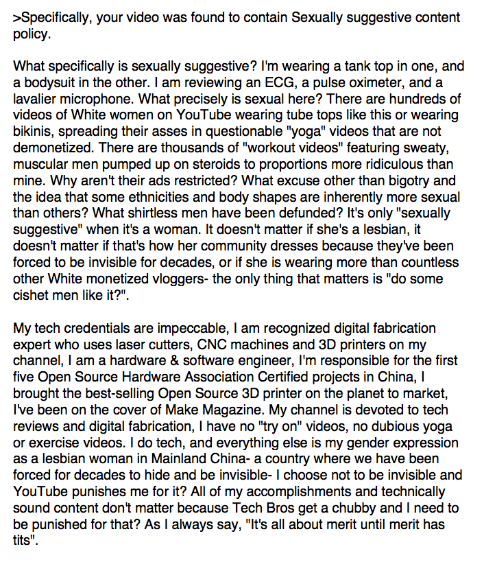 "Unbelievable, @ytcreators & @TeamYouTube are still insisting a bodysuit and a tank top are ""too sexually suggestive"". They won't even verify the top tech channel in a country of 1.3b, can we stop pretending this constant nerfing of my work is about anything but bigotry?"