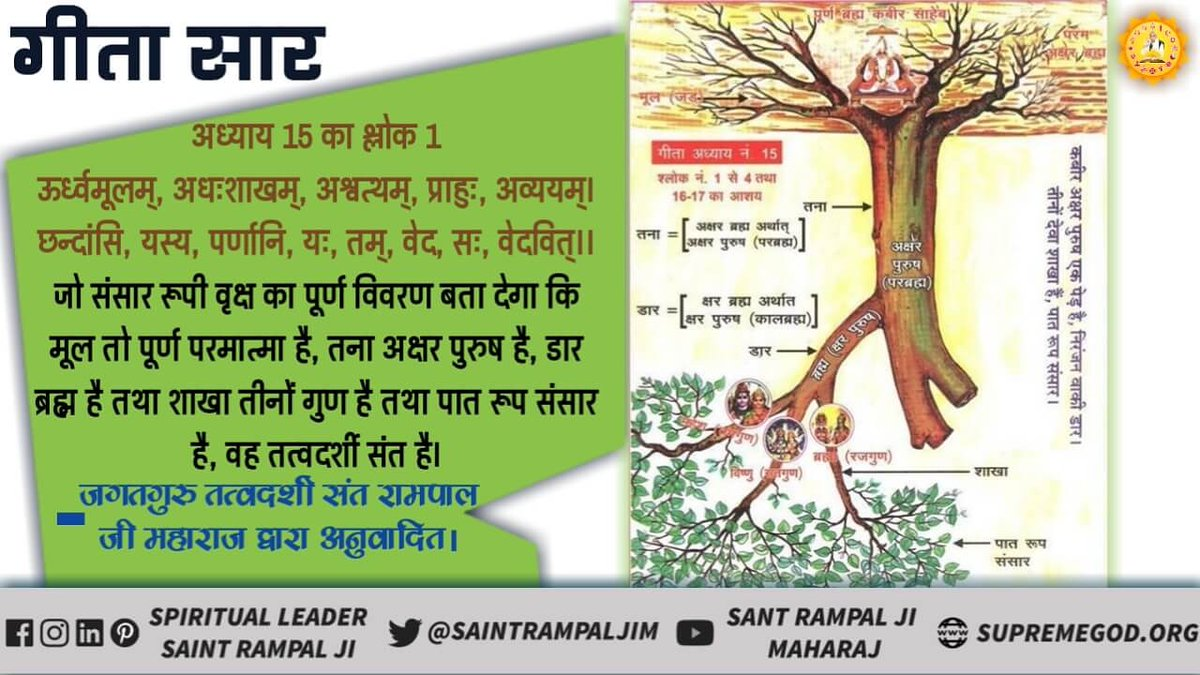 #FridayThoughts In Gita Chapter 15 Verse 1, the identity of that metaphysical saint has been told that he will make every part of the tree of the world knowledge. Ask him the same. @AnshulGarg80 @anuraagmuskaan @bajajsheena @karan009wahi