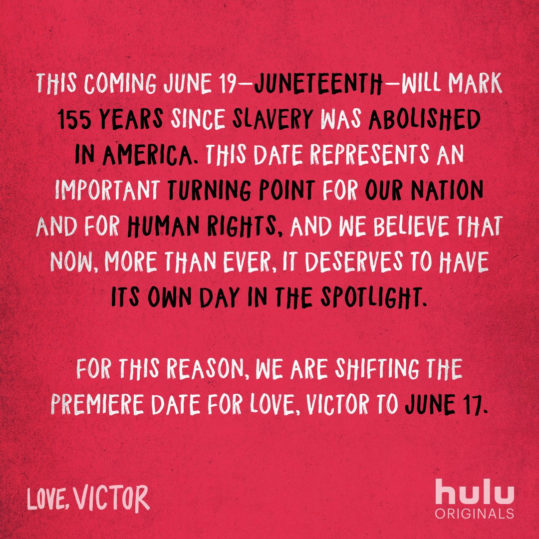Dear friends, #LoveVictor will now premiere on Wednesday, June 17. ❤️