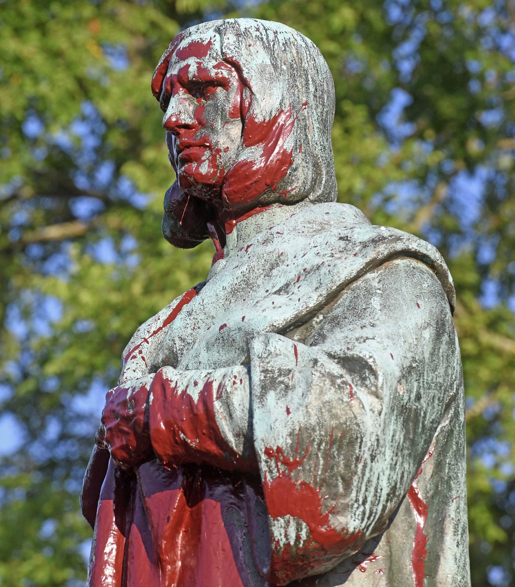 The Christopher Columbus statue in Byrd Park was torn down this evening by protesters, who then threw it in Boat Lake.