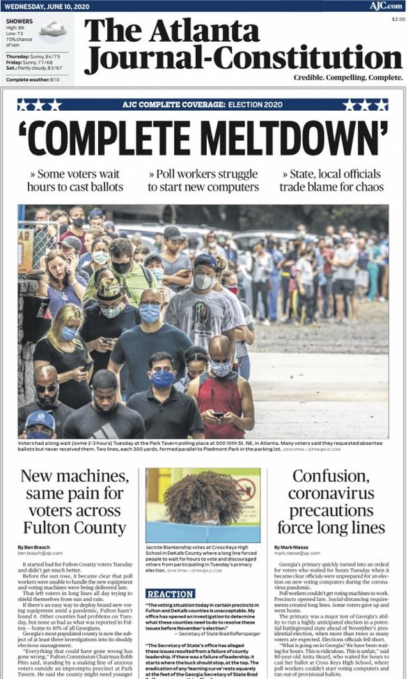 The front page of tomorrow's @ajc following today's election mess in Georgia