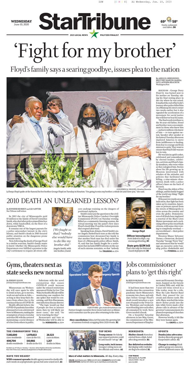 """Out of his death has come a movement, a worldwide movement.""   The final edition of Wednesday's @StarTribune. https://t.co/cnxQXT3g6e"