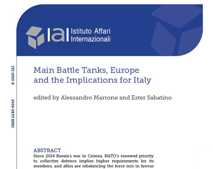 Thank's to Alessandro for the invitation to participate to this webinar. The future MBT or MGCS is one the key question of  the future collective capabilities of EU. Read the report of IAI @Alessandro__Ma @Ester_Sab1 @MTerlikowski @InstitutIRIS @AresGroup_EU @IAIonline https://t.co/YqwxwF0HX2 https://t.co/EkWq1thlUQ