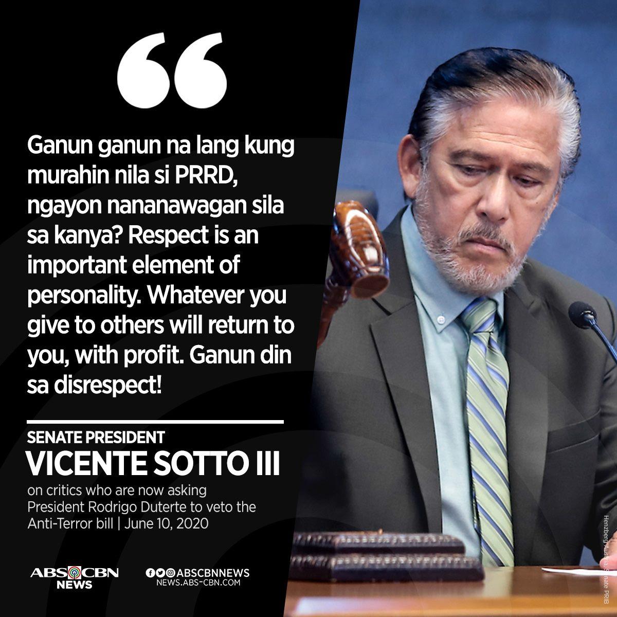 "Senate President Tito Sotto warned the critics of President Rodrigo Duterte that their disrespect toward the chief executive ""will return"" to them ""with profit.""   READ: https://t.co/o703wSe4g9 https://t.co/vlTdMoY48i"