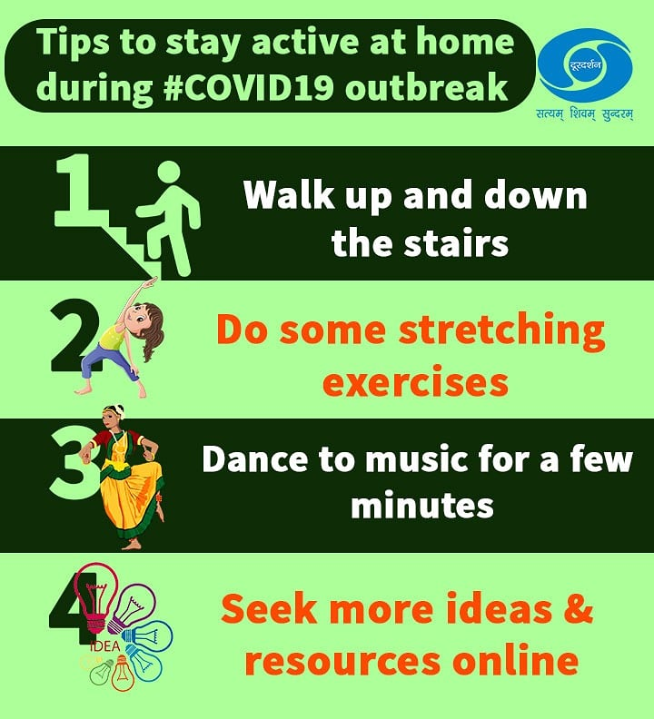 #IndiaFightsCorona -  Tips to stay active at home during #COVID19 outbreak #StayAtHomeSaveLives #StayHome #coronavirusindia #CoronaVirus #COVID2019 #StayHomeStaySafe #CoronavirusOutbreakpic.twitter.com/27bAipPgRw