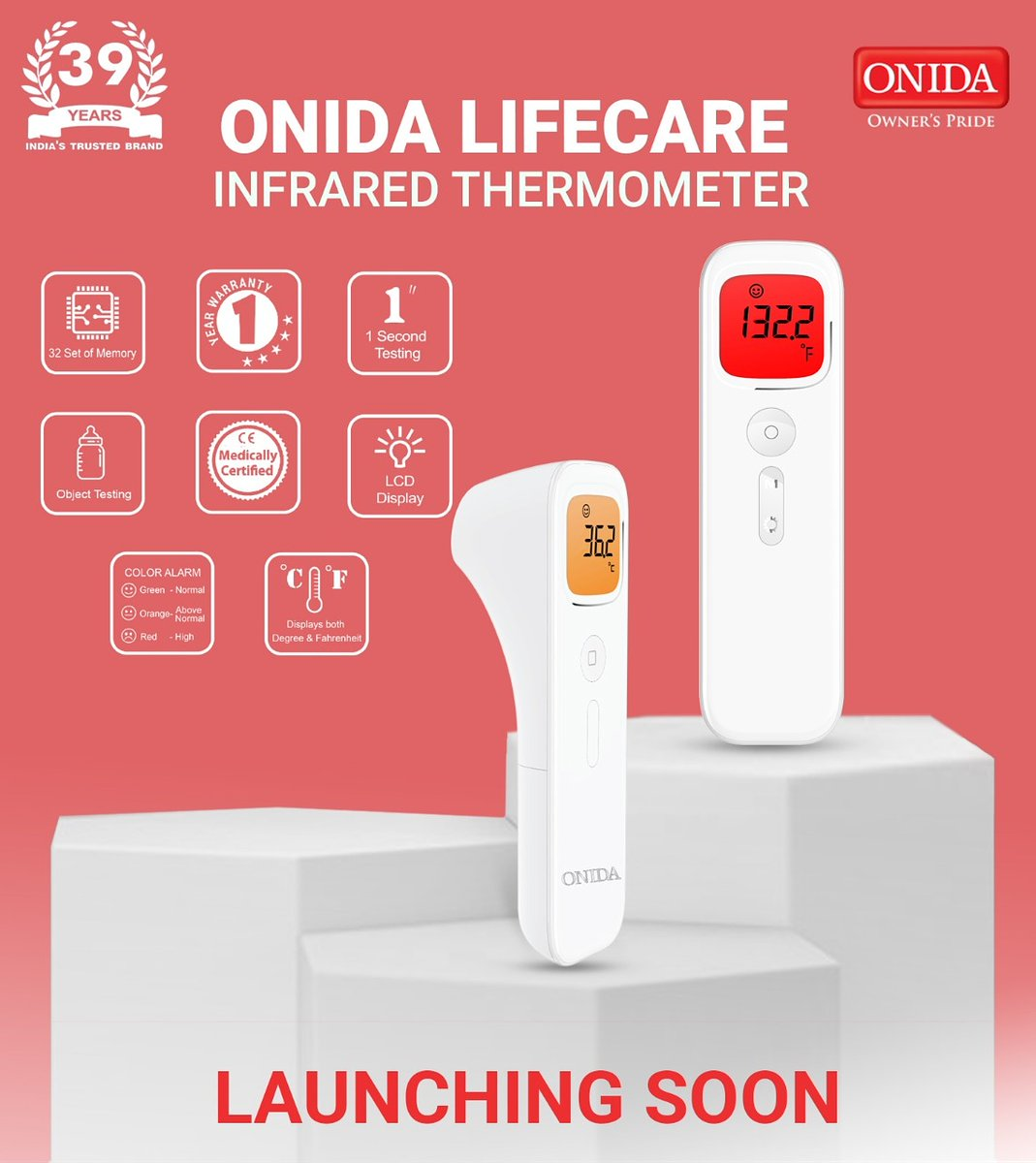 Your health is important to us. With 39 years of Innovation, Onida Introduces Lifecare Contactless Infrared thermometer. Keep your health in check with our Health Tech. . #Onida #IndiaKaOnida #LifeCare #Healthcare #IRThermometer #HealthDevices #covidcheck #DigitalThermometer https://t.co/rKIDoZALeT