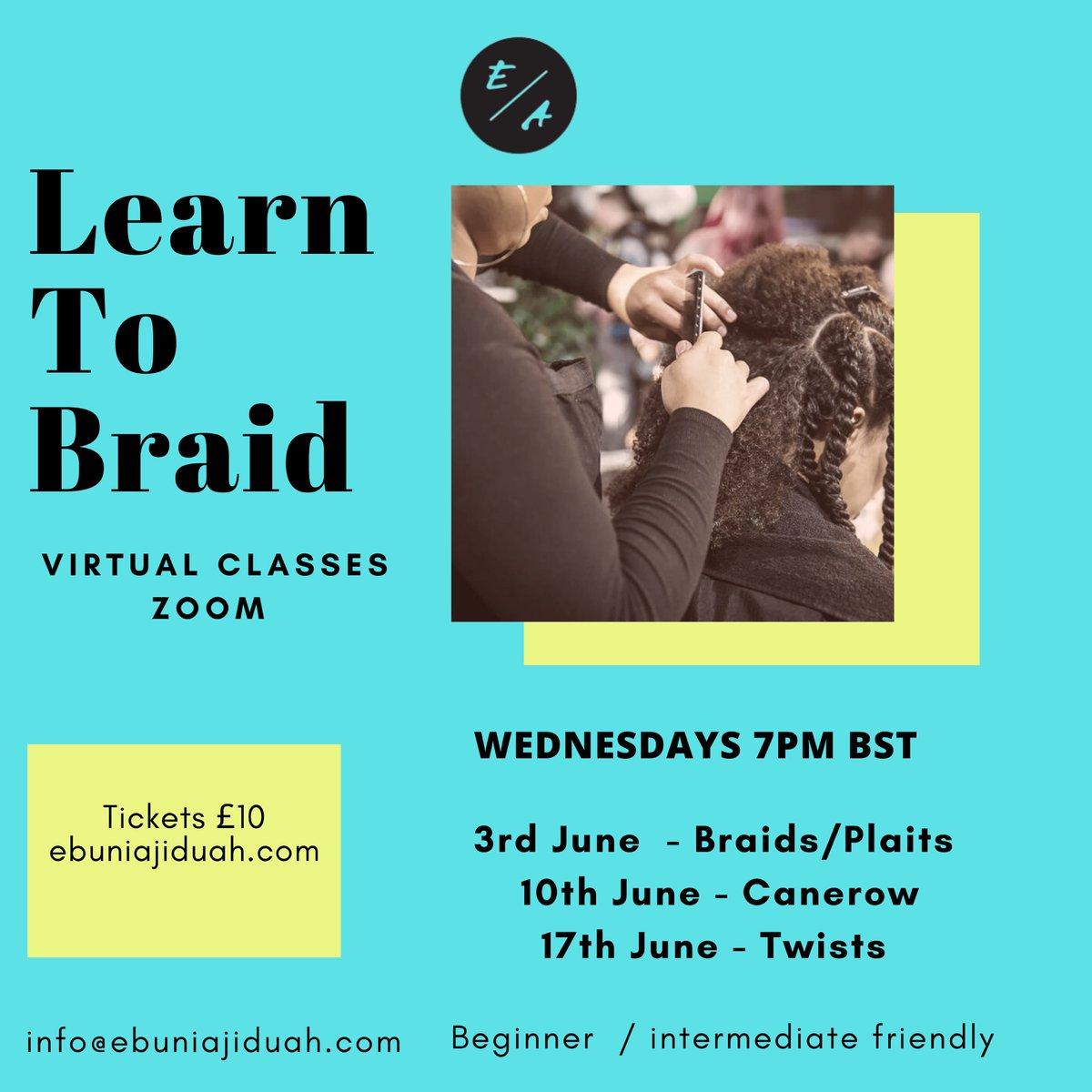 Online canerow class tonight! ebuniajiduah.as.me/learntobraid