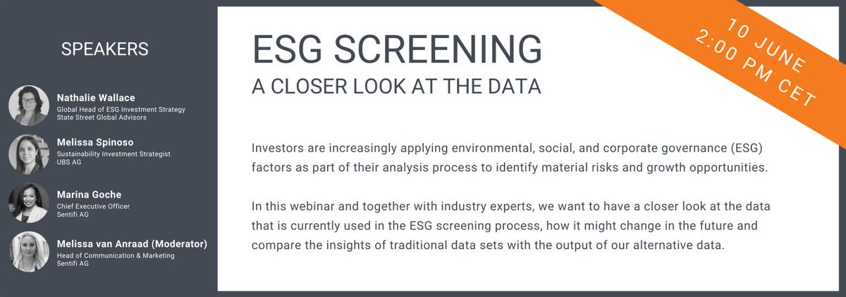 Do you want to know what data is used to make informed decisions around ESG leaders and laggards? Save your seat and join our webinar today at 2:00 PM CET: https://t.co/NKxAvGEclx https://t.co/wrh7zRIhMC