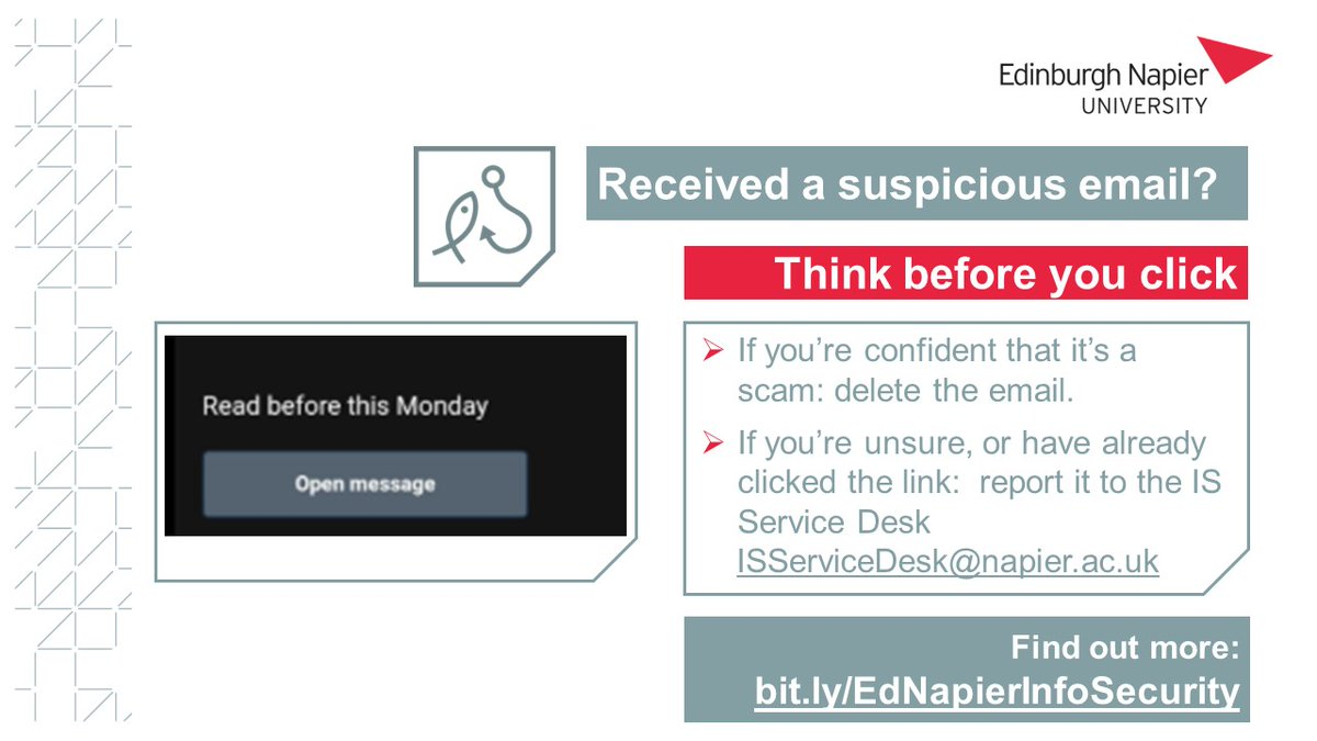 Remember to think before you click!  You may have received suspicious emails from colleagues you know and trust, whose accounts had been compromised. If you've clicked a link or entered your details into a website, report it to @EdNapITSupport #enuspam https://t.co/n5LYU1Ltxl