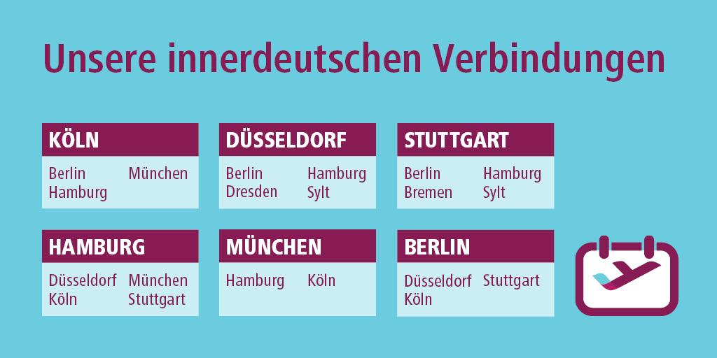 Wir haben unseren innerdeutschen Flugplan im Juni ausgeweitet und fliegen ab sofort alle wichtigen Business-Strecken bis zu zweimal täglich an. Alle Informationen auf https://t.co/OqwA8BsIrk. https://t.co/Bhp7RC21OO