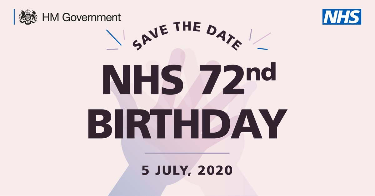 Mark the date in your calendar 📝  This Sunday we're celebrating the 72nd birthday of our NHS  We want everybody to come together at 5pm to clap for NHS and social care staff, all other key workers, and our communities. https://t.co/Ab0HGmZATc