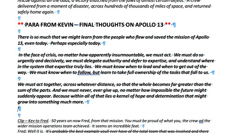 For those who asked, here's a screenshot of the lessons learned paragraph from the Episode 7 #13MinutestotheMoon script. #NHS #COVID19 #Apollo13 #NASA. https://t.co/Td5JovefuT