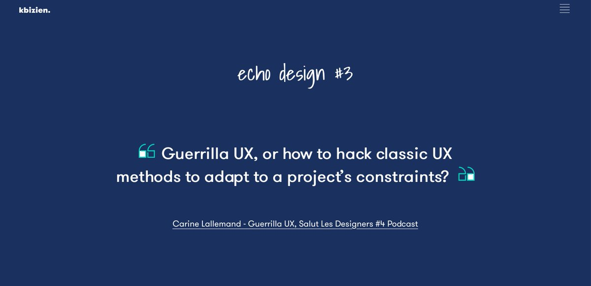 👨🎨👩🎨Do you know the Guerrilla UX? In Echo Design #3, I share with you an interview with @Carilall, speaks about her practice's vision. Recorded by @agencelunaweb - SLD podcast (FR ITW) https://t.co/HOuZ5s2rdZ #design #ux #uxdesign #SalutlesDesigners #guerrilla #UserExperience https://t.co/NHyG6UNw8H