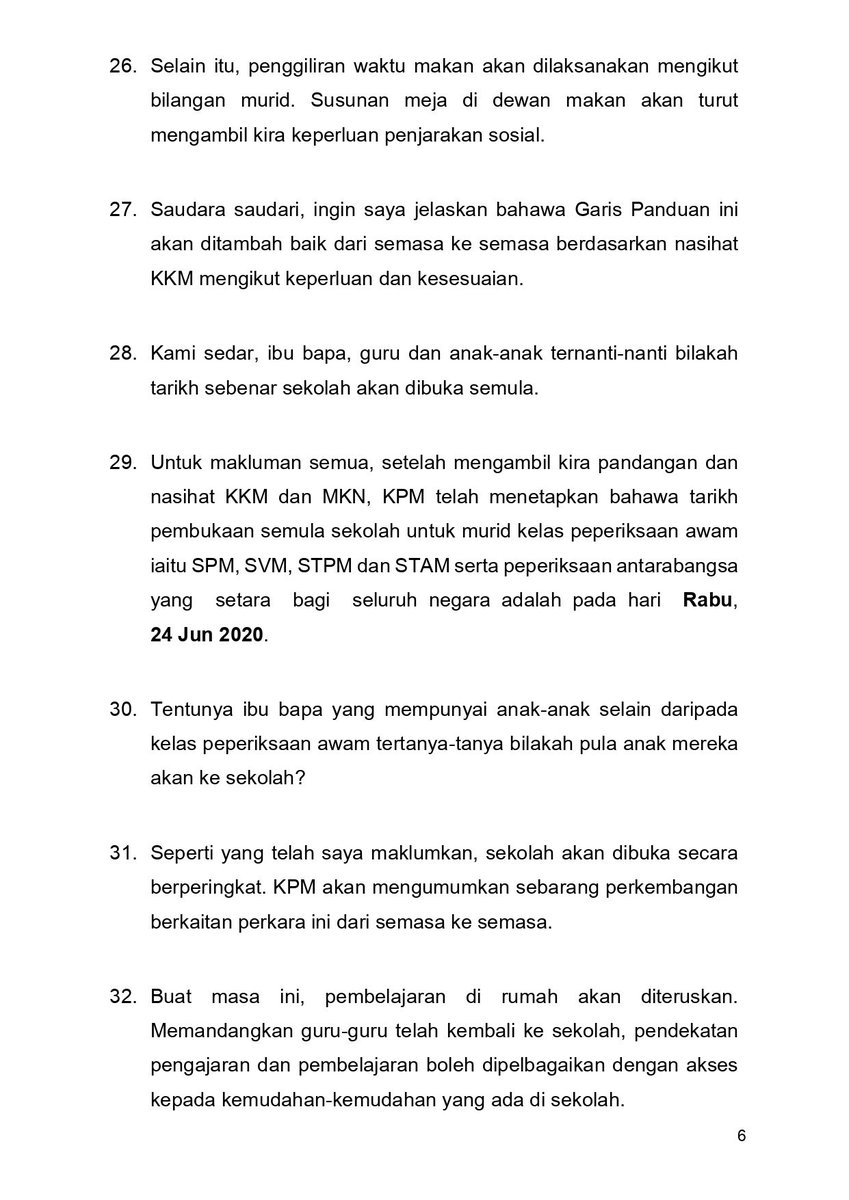 Bernama Tv Pa Twitter Teks Ucapan Menteri Kanan Pendidikan Dr Radzi Jidin Pengumuman Tarikh Pembukaan Semula Sekolah 10 Jun 2020 2 2 Https T Co Mjctfjzu3t