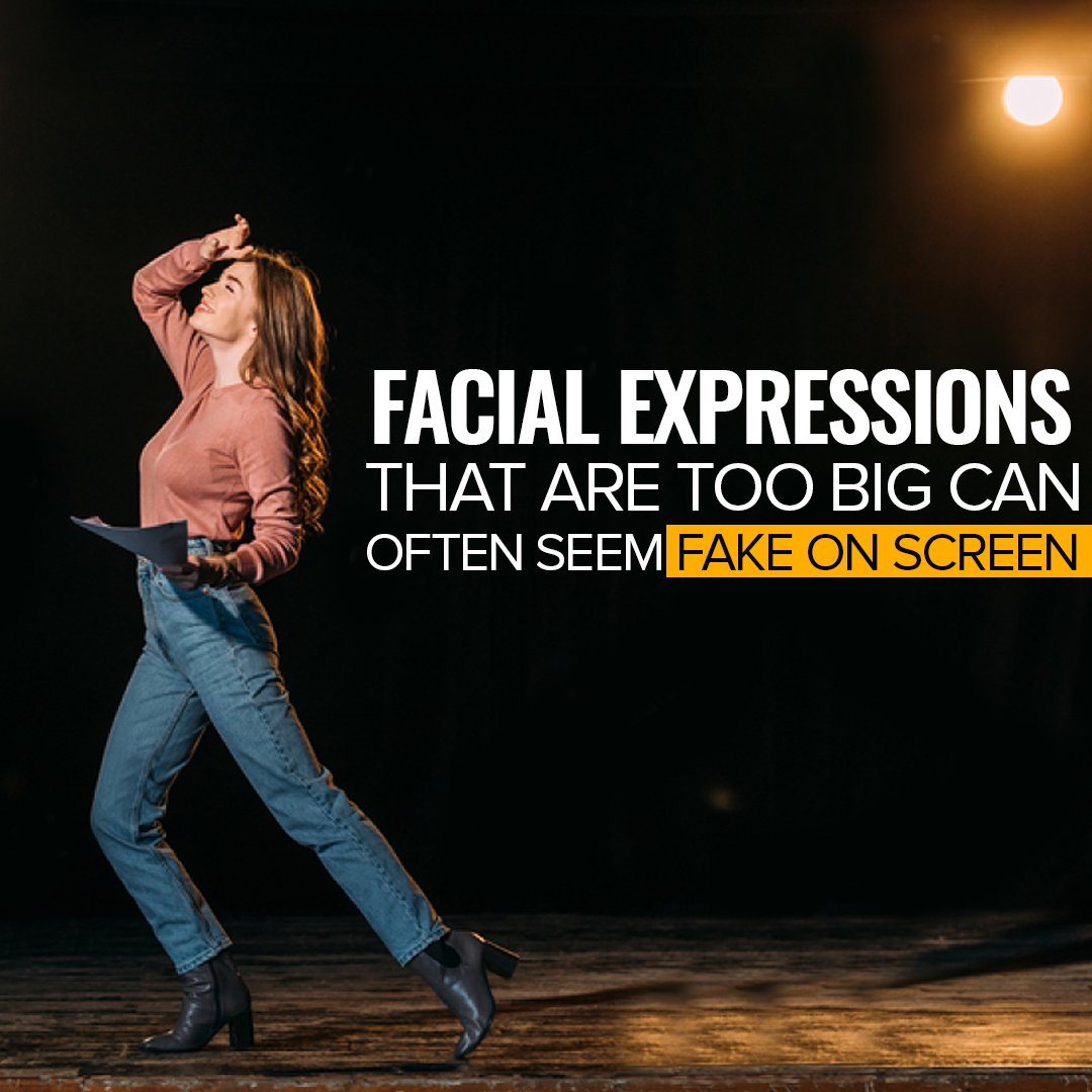 Facial expressions that are too big can often seem fake on screen. #Wednesday #Wednesdaywisdom #acting #actingpartner #team #support #theatre #action #love
