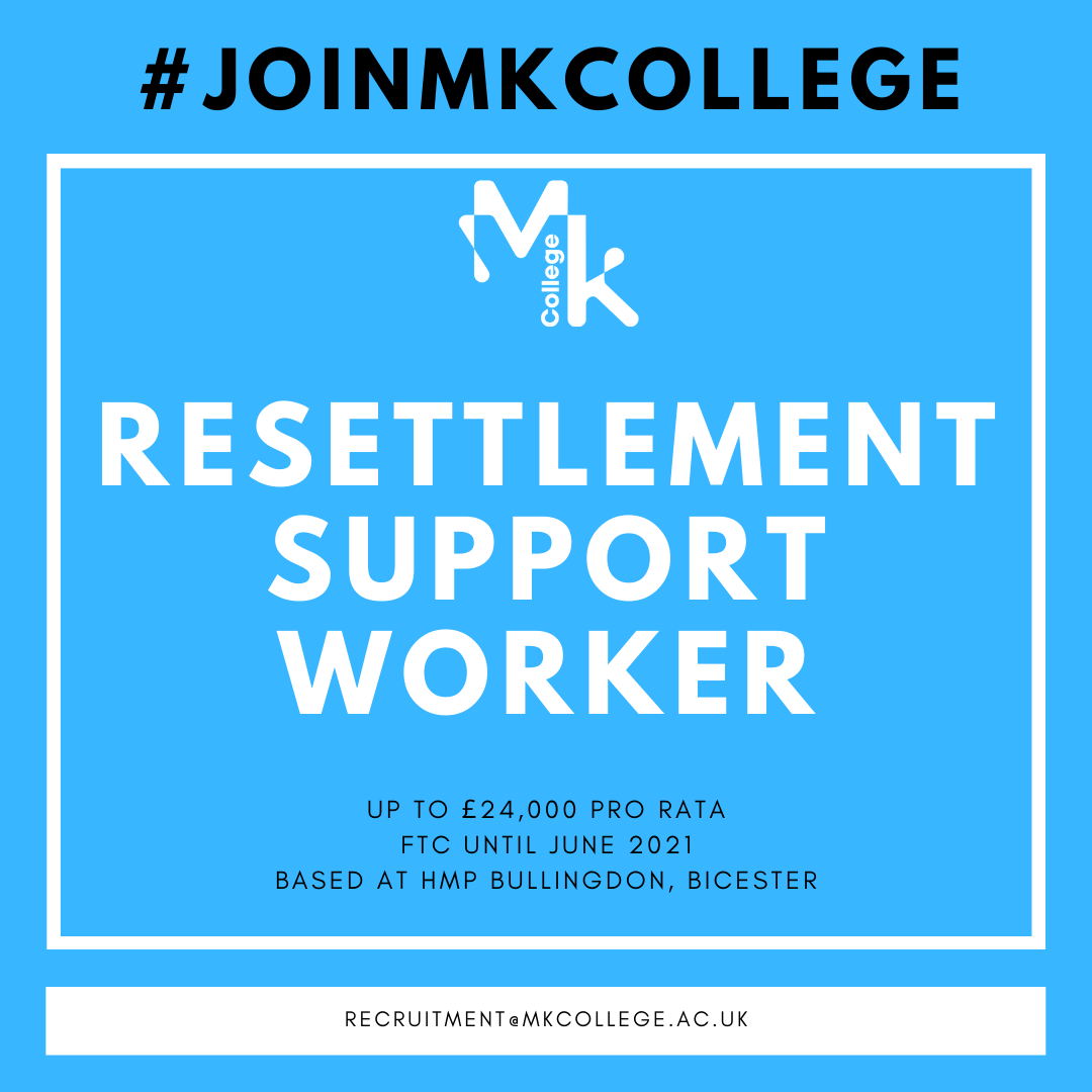 We're looking for a Resettlement Support Worker to join our lovely team @HMPBullingdon. Find out more here: https://t.co/PfUe7oogIM #TransformingLives #JoinMKCollege https://t.co/mLpd1HRmrT