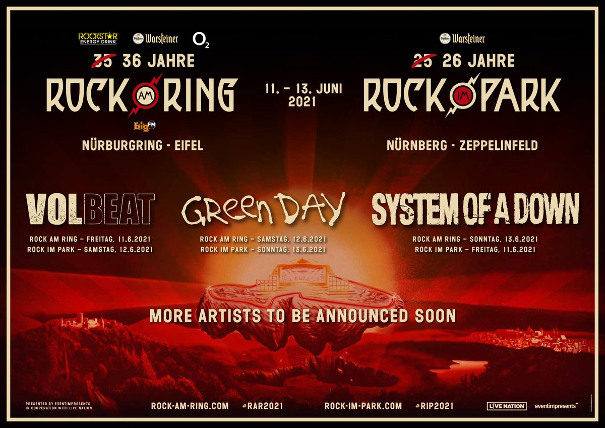 Here we go again: Check out the first bands of @rockamring 2021! 🤘   #RAR2021 #nring https://t.co/TiQifKWmff