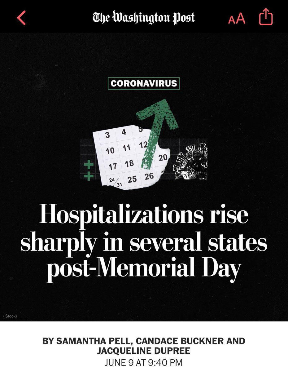 Shocker, looks like the Amazon @washingtonpost is running pure propaganda to gaslight people into believing that it was Memorial Day and not the massive riots and protests that they applauded and helped promote that's causing a spike in coronavirus cases.  Give me a break! 🙄🙄🙄 https://t.co/ZtmugmTglm