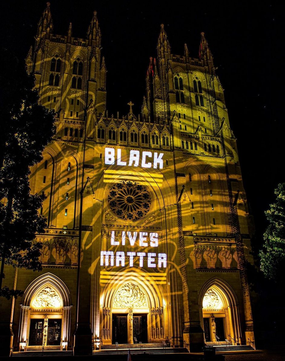 Incredible photo by netforceone of the @WNCathedral #BlackLivesMatter Projection