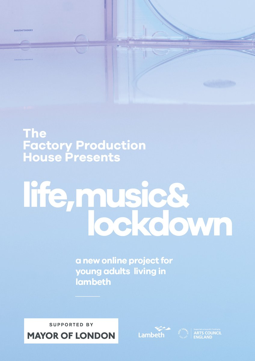 Life, Music & Lockdown is a new online project focusing on supporting young adults living in Lambeth, affected by Covid-19.  To Sign Up & for more info please email: thefactoryproductionhouse@photofusion.org & share amongst your networks! https://t.co/7ZBwiCTJEY