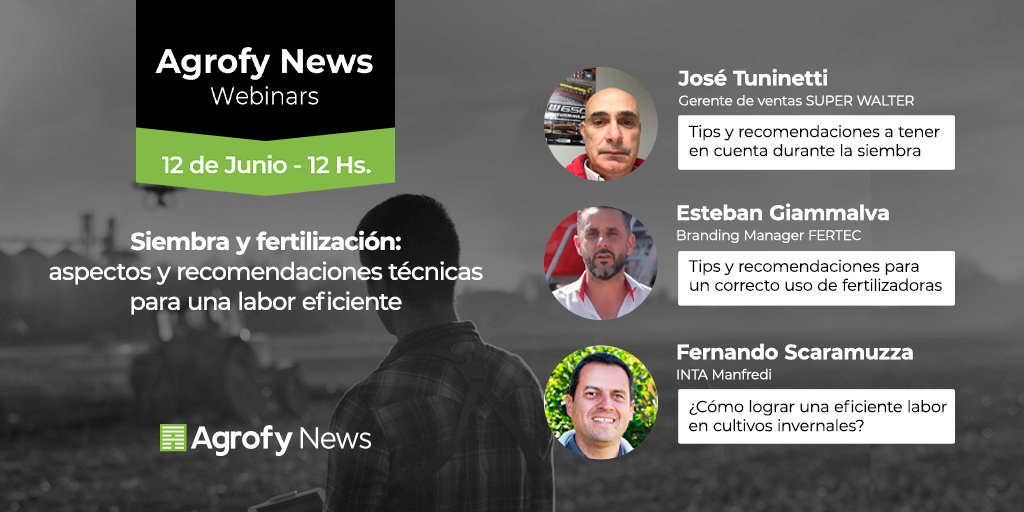 🗓️#Agendá esta nueva Webinar sobre siembra y fertilización.  📌Viernes 12, a las 12 hs.  🗣️José Tuninetti, gerente de ventas de #SuperWalter. 🗣️Esteban Giammalva, branding manager de @FertecSRL  🗣️Fernando Scaramuzza, del @IntaManfredi   Inscribite acá 👉https://t.co/Nd36xG7Qor https://t.co/UuZXJDAY11