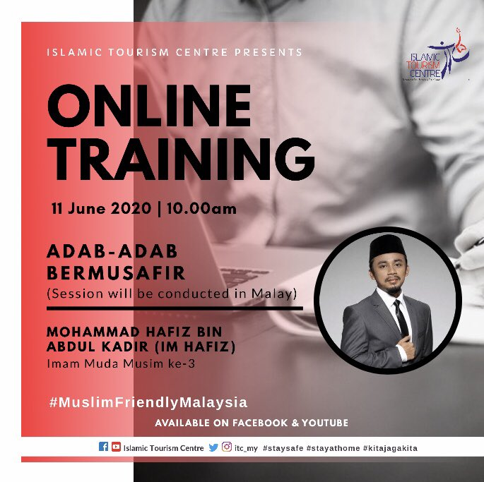 ITC's Online Training session returns on 11 June 2020 on Facebook and Youtube. The topic covered will be on Adab-adab Bermusafir.  Do tune in at 10am (Malaysian time, +8 GMT)   *Session will be conducted in Malay* https://t.co/R8HKugExcp