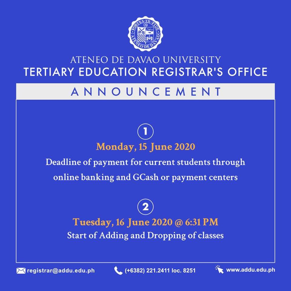 ANNOUNCEMENT | From the Tertiary Education Registrar's Office