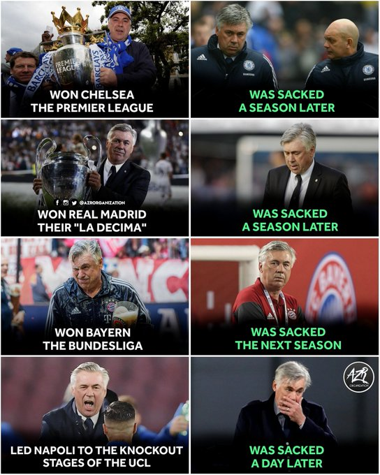 Unfortunately, Carlo Ancelotti Is The Most Unluckiest Manager In The History. Happy Birthday Legend.