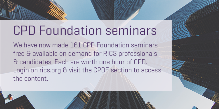 Each of the 161 on-demand CPD Foundation seminars that we've uploaded to our website are worth one hour towards your CPD.  Did you know that RICS professionals & candidates can now access them for free?  Explore the catalogue now: https://t.co/TWkRopyM2o. https://t.co/i4R4gWk8Cd