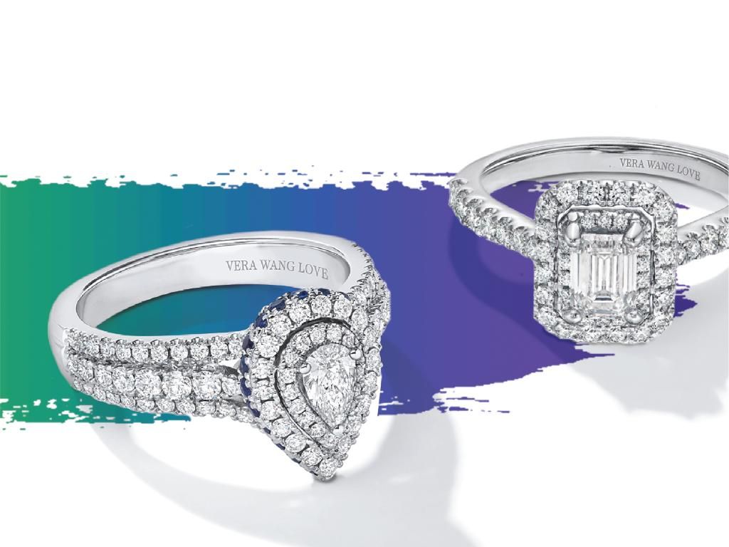 Sparkling diamonds, unique designs and two hidden blue sapphire accents put engagement rings from the Vera Wang LOVE collection at the top of her wish list. #LoveZales #VeraWangLOVE Shop Vera Wang LOVE now: https://t.co/RooEShYdAX https://t.co/7WZpCBAq82