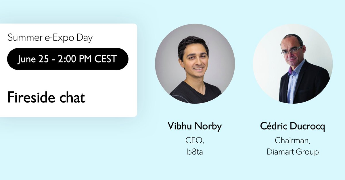 "[Summer e-Expo Day] In an exclusive live fireside chat from San Francisco, @b8ta co-founder and CEO @vibhu will be interviewed by Cédric Ducrocq, CEO of @DiamartGroup, about the rise of ""#Retail as a Service"". Save your spot to join the conversation ➡️ https://t.co/yUToph6FbQ ⬅️ https://t.co/wBZsiA3P39"