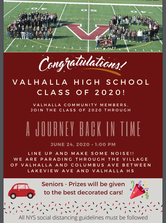 VHS CAR PARADE: Join us on Wednesday, June 24, to celebrate Valhalla High School's Class of 2020! At 1 p.m., the seniors will begin their parade through town. Community members are invited to wear their Viking gear and cheer for the graduating students. More details to follow! https://t.co/MTZjm7hmSR