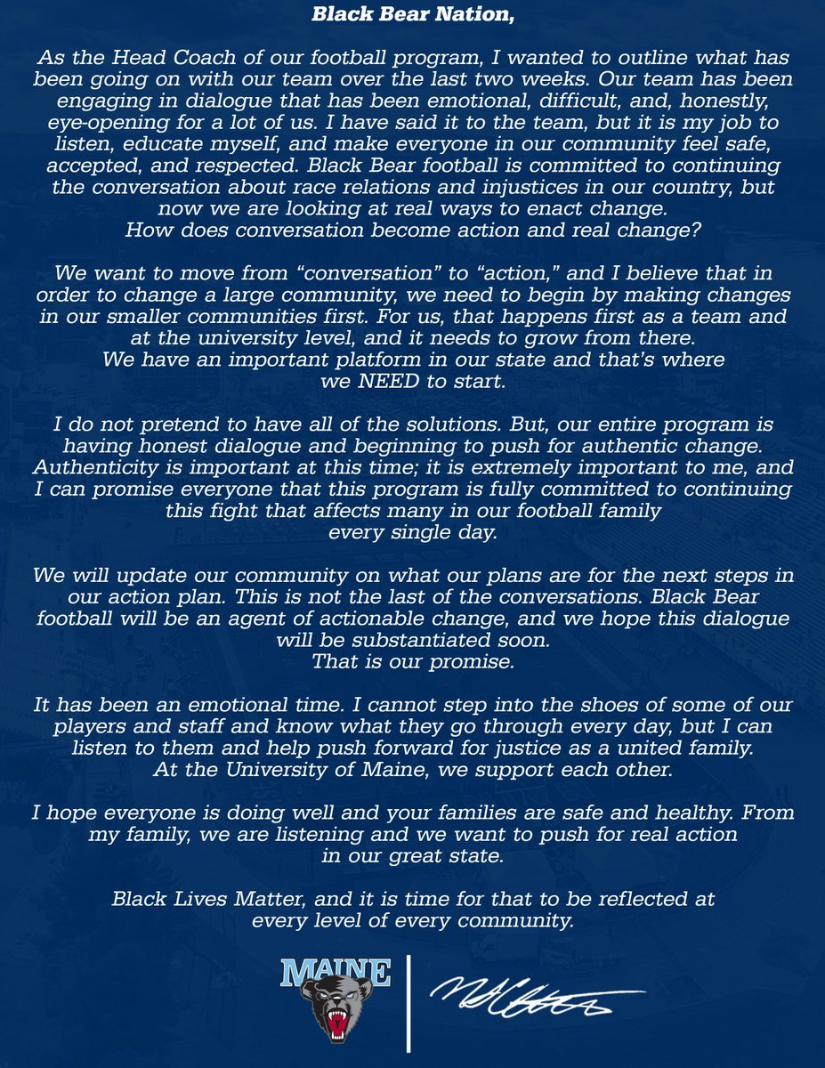 A statement from @Coach_Charlton #BlackBearNation   #ChampionshipMentality   #CAAFB